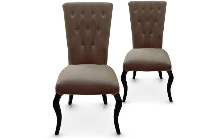 lot de 2 chaises taupes en velours baroque port vila chaise design pas cher. Black Bedroom Furniture Sets. Home Design Ideas