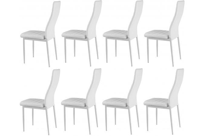 lot de 8 chaises blanches en m tal san jos chaise design pas cher. Black Bedroom Furniture Sets. Home Design Ideas