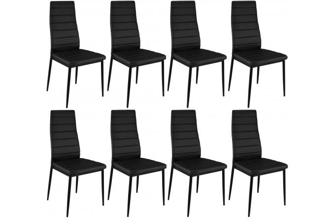 lot de 8 chaises noires en m tal san jos chaise design. Black Bedroom Furniture Sets. Home Design Ideas