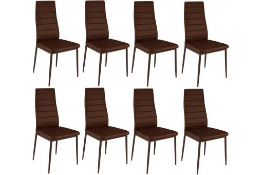 Lot de 8 chaises marrons en métal San José