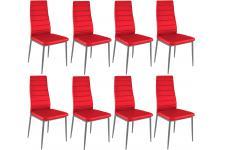 Chaise Design Lot de 8 chaises rouges en métal San José, deco design