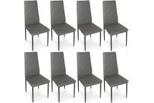 Chaise Design Lot de 8 chaises grises en métal Saint-Marin, deco design