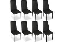 Chaise Design Lot de 8 chaises noires en métal Saint-Georges, deco design