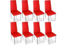 Chaise Design Lot de 8 chaises rouges en métal Saint-Georges, deco design
