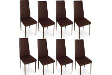 Chaise Design Lot de 8 chaises marrons en métal Saint-Marin, deco design