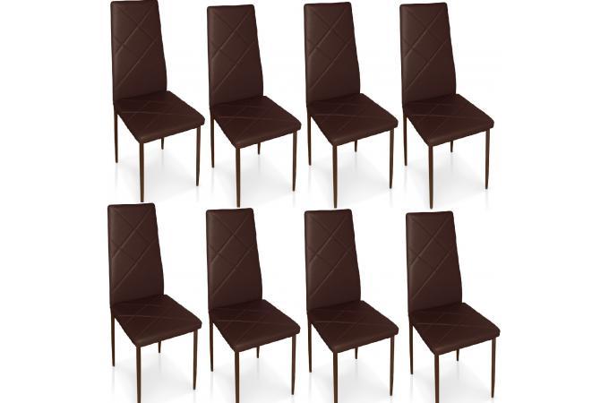 lot de 8 chaises marrons en m tal saint marin chaise design pas cher. Black Bedroom Furniture Sets. Home Design Ideas