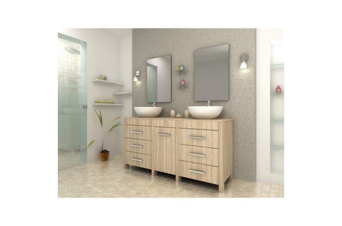 Meuble de salle de bain marron clair en bois achim for Salle de bain bois clair
