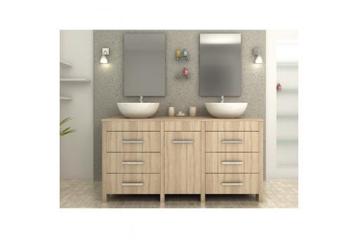 meuble de salle de bain marron clair en bois achim meuble salle de bain pas cher. Black Bedroom Furniture Sets. Home Design Ideas
