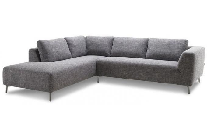 canap d 39 angle gauche gris narbonne en tissu bazil. Black Bedroom Furniture Sets. Home Design Ideas