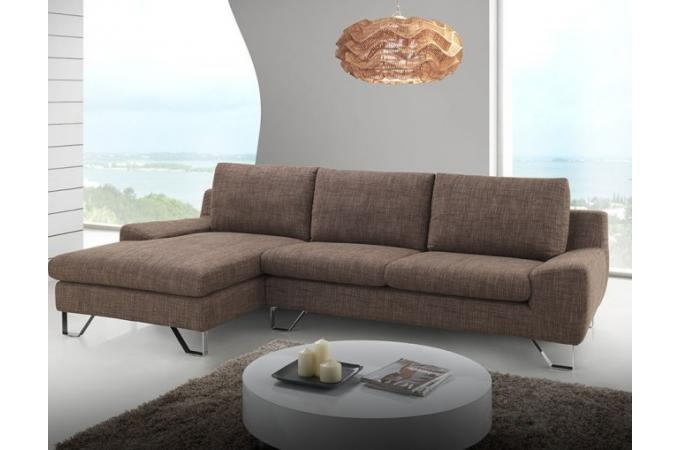 canap d 39 angle gauche marron en tissu barry canap d 39 angle pas cher. Black Bedroom Furniture Sets. Home Design Ideas