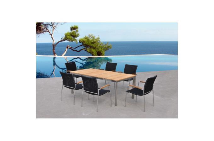 Table et chaises marrons en teck ad le fauteuil et for Table et chaise de jardin en teck pas cher