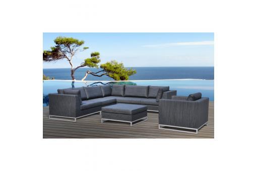 salon de jardin gris fonc en aluminium adrienne salon de jardin pas cher. Black Bedroom Furniture Sets. Home Design Ideas