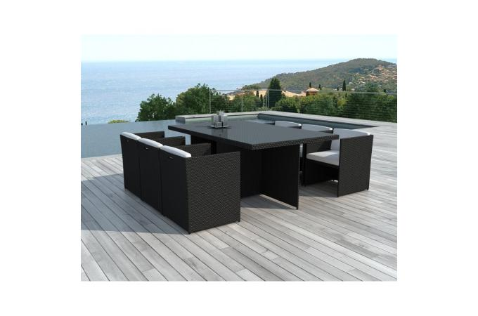 Table et chaise de jardin en resine for Table chaise jardin resine tressee pas cher