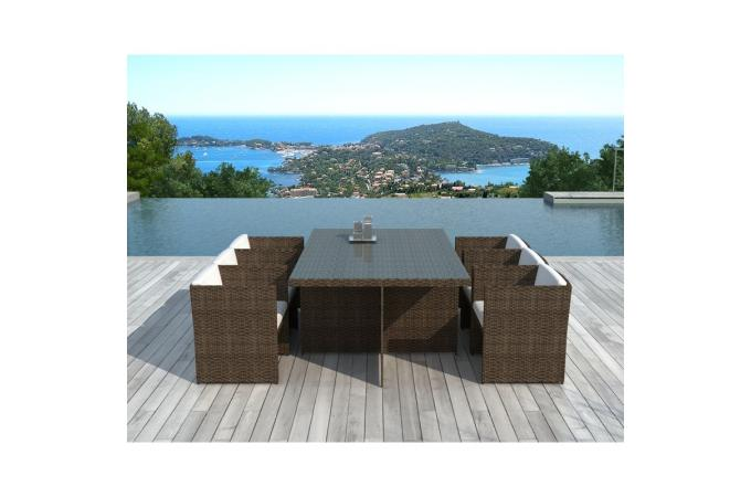 table et chaises de jardin chocolats en r sine tress e. Black Bedroom Furniture Sets. Home Design Ideas