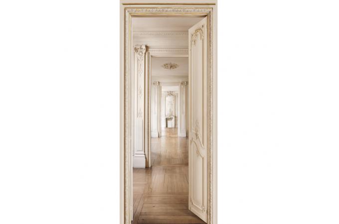 Papier peint enfilade beige louis xv papier peint trompe for Papier peint trompe oeil porte