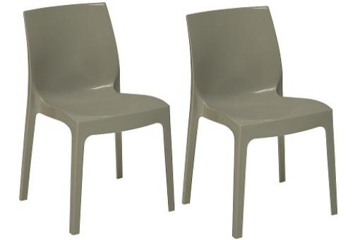 Lot de 2 Chaises Empilable Gris Perle Brillant LADY