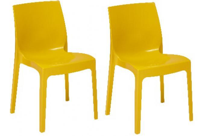 Lot de 2 chaises empilables jaunes laqu es lady chaise design pas cher - Chaises empilables pas cher ...