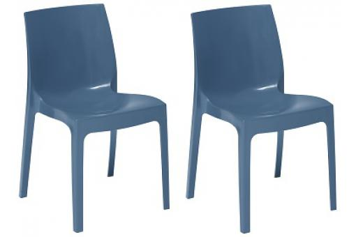 Lot de 2 Chaises Empilable Bleu Avio Brillant LADY