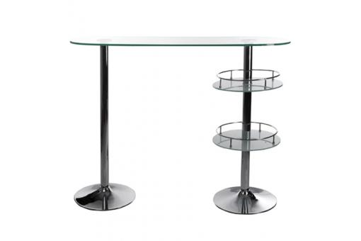 Table-bar transparente en verre Jimmy