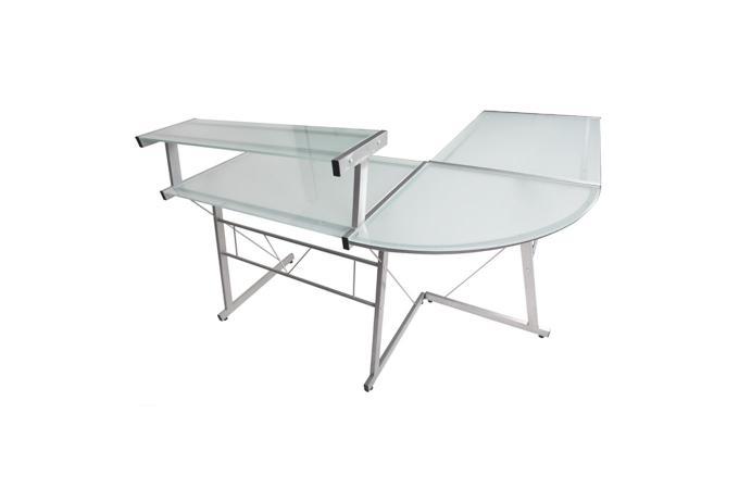 bureau blanc en verre romina bureau pas cher. Black Bedroom Furniture Sets. Home Design Ideas