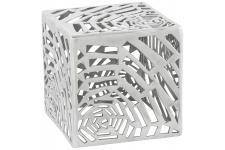 Table d'Appoint Pouf déco argenté en aluminium Rosie, deco design