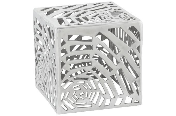 Pouf déco argenté en aluminium Rosie - Pouf Design & Pouf Géant Pas Cher