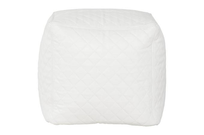 Pouf blanc en imitation cuir caroline pouf design pouf g ant pas cher - Pouf cuir blanc design ...