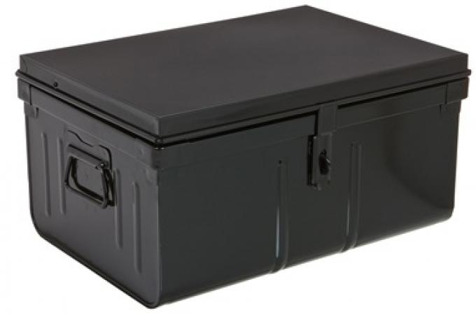 malle de rangement m tal 57x41 cm noir bo te de rangement pas cher. Black Bedroom Furniture Sets. Home Design Ideas