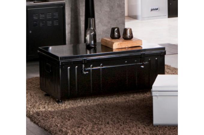 malle de rangement m tal 100x55 cm noir bo te de. Black Bedroom Furniture Sets. Home Design Ideas