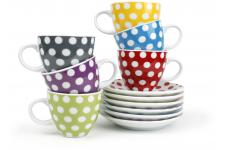 Tasse 0.17l+souc. set/6 6 coul. ass. Dots - Verre multicolore
