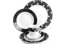 Ménagère Service en porcelaine noir à petits points 20 Pièces, deco design
