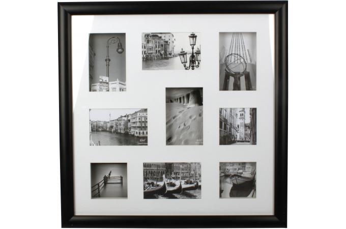 Cadre photo mural 9 photos noir 54x54cm cadre photo pas cher for Cadre mural pas cher
