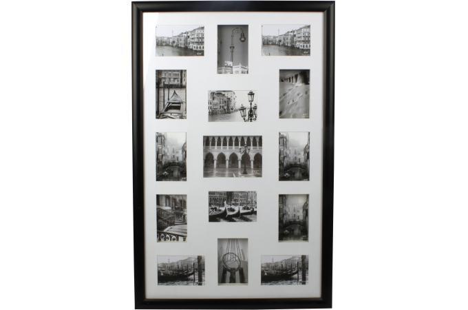 Cadre photo mural 15 photos noir 57x88cm cadre photo pas - Cadre mural pas cher ...