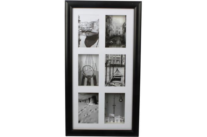 Cadre photo mural 6 photos noir 33x60cm cadre photo pas cher for Cadre photo mural