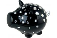 Tirelire cochon diamants noire OINK - Tirelire porcelaine