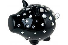 Tirelire cochon diamants noire OINK, deco design