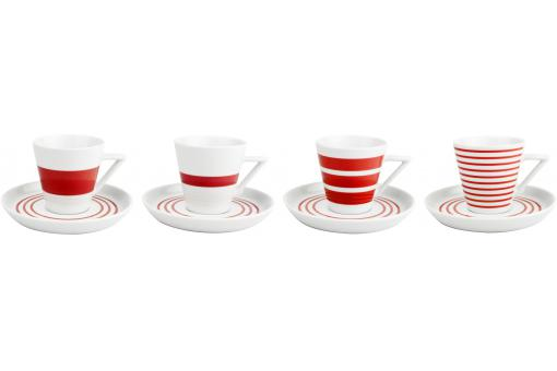 Salt & Pepper - Tasse 19 cl + Soucoupe 14,5 cm en porcelaine rouge - set de 4 STRIPES