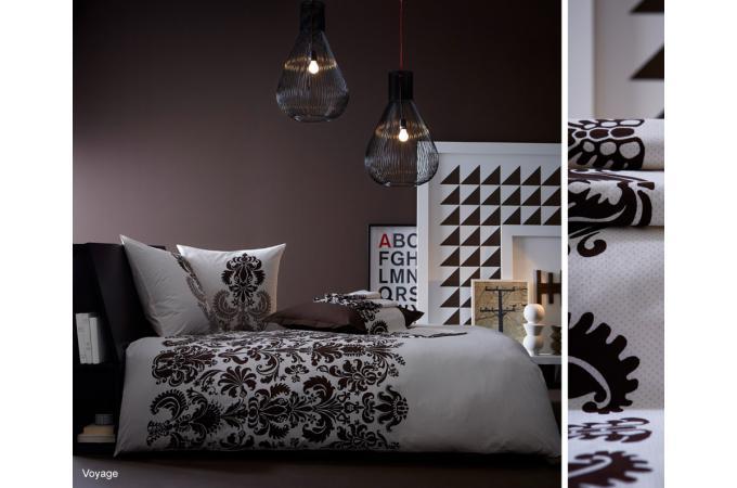 Housse de couette blanche et noire coton imprim 220x240 - Housse de couette blanche et noire ...