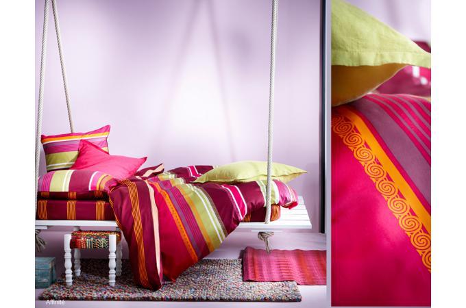 housse de couette ros e satin imprim 220x240 cm affinite. Black Bedroom Furniture Sets. Home Design Ideas