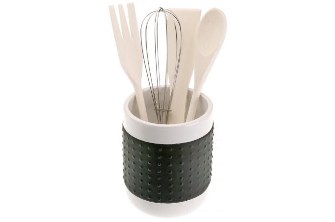 Porte ustensile noir en c ramique et usentiles accessoires cuisine sali re gant pas cher - Porte ustensile cuisine ...