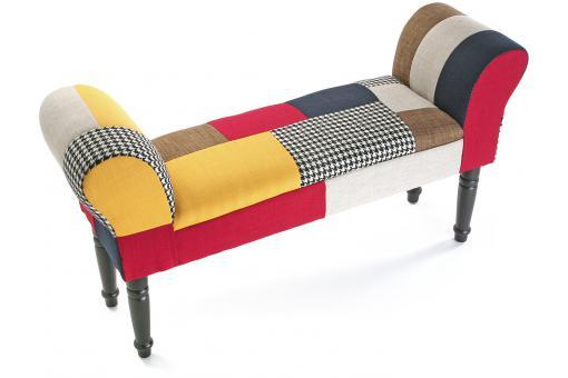 tabouret pied de lit patchwork solid banquette. Black Bedroom Furniture Sets. Home Design Ideas