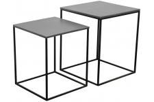 Set De 2 Tables de Chevet Miles Zinc - Table de chevet argent