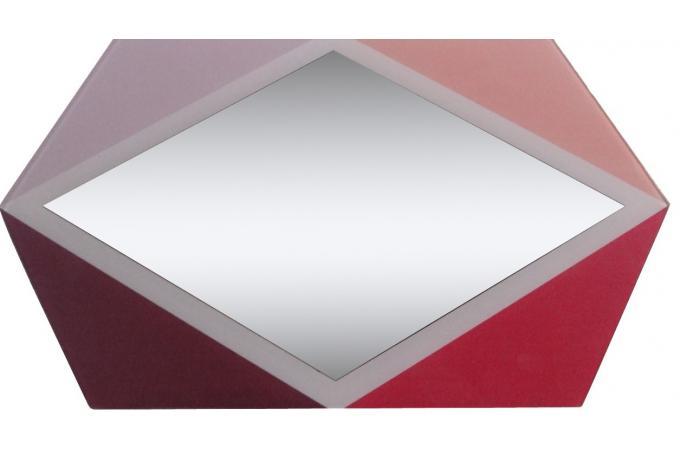 Miroir losange rouge et argent miroir rond et ovale pas cher for Miroir losange