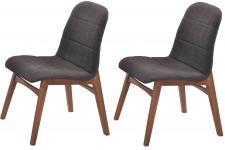 Chaise Design Lot de 2 chaises JUNA en bois hévéa noires, deco design