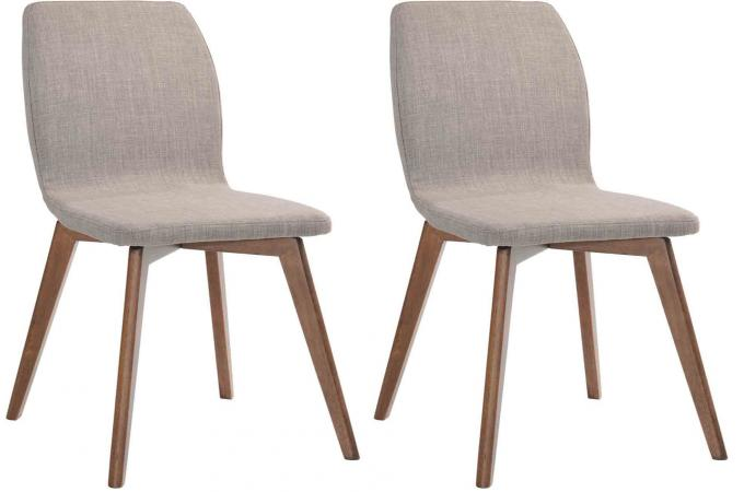 Lot de 2 chaises kenyu en bois h v a rev tement polyester beige et pieds noye - Soldes chaises design ...