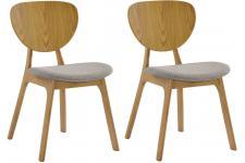 Chaise Design Lot de 2 chaises YANN en bois hévéa revêtement chocolat et pieds chêne clair, deco design