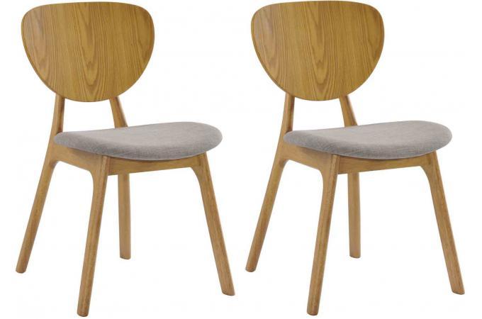 Lot de 2 chaises YANN en bois hévéa revêtement chocolat et pieds ...