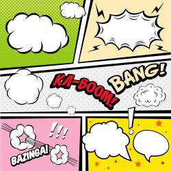 Tableau Pop Art Multicolore Kaboom Bang 50X50