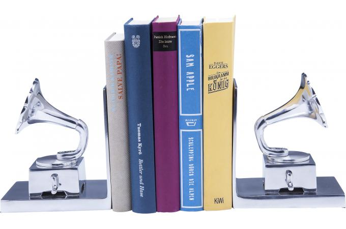 set de 2 serre livres gramophone statue design pas cher. Black Bedroom Furniture Sets. Home Design Ideas