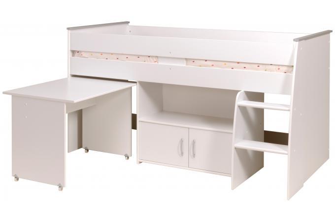 lit mezzanine blanc combin avec un bureau et rangements. Black Bedroom Furniture Sets. Home Design Ideas